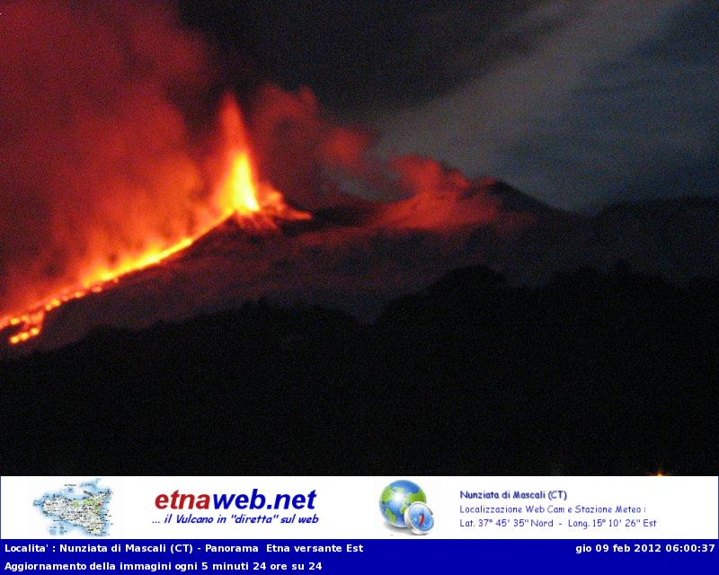Lava fountains and the lava flow seen from the east