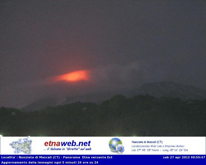 Glow from Etna (EtnaWeb webcam)