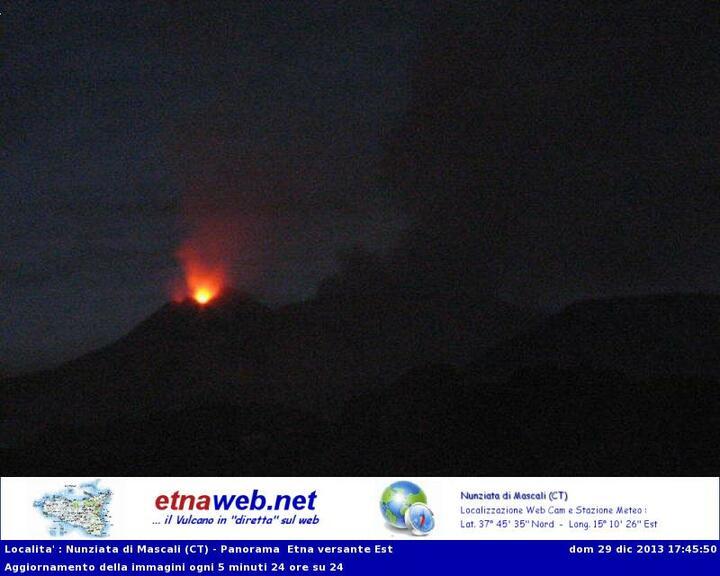 Strombolian activity at New SE crater (Etna-Web webcam)