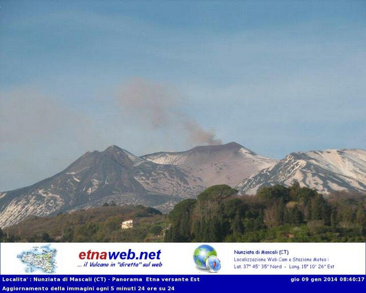Ash emission from Etna's NE crater this morning