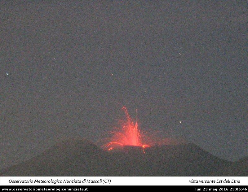 Strombolian activity at the Voragine Crater (Osservatorio Meteorologico Nunziata webcam)