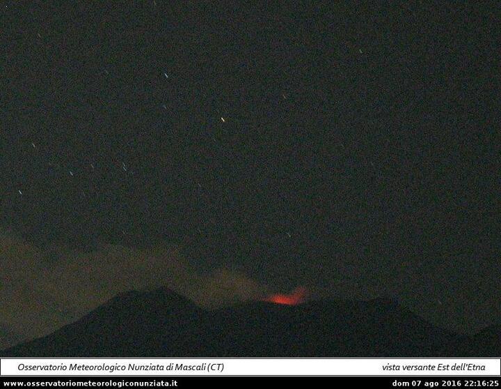 Strombolian activity at the Voragine Crater (Osservatorio Meteorologico Nunziata webcam)