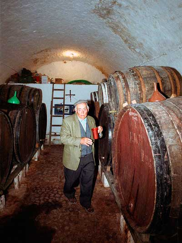 Large old barrels full of Santorinian wine