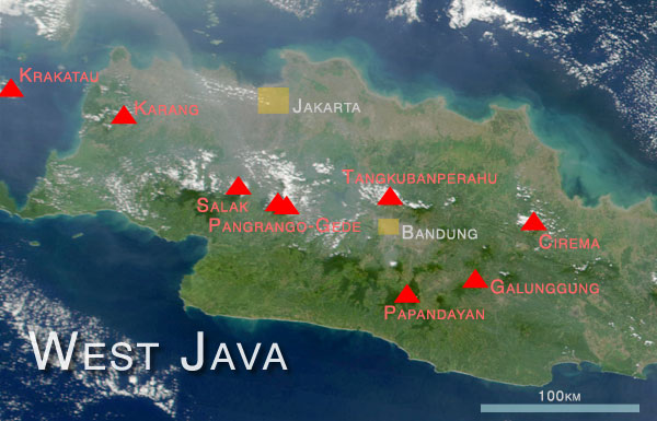 Map showing some of West Java's volcanos, based on NASA satellite imaginery.