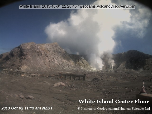 Steaming from White Island's crater
