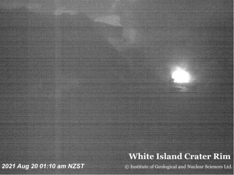 Near-continuous night-time glow at White Island volcano (image: GeoNet)