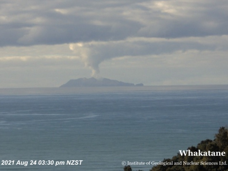 Gas and steam plume from White Island volcano today as seen from Whakatane (image: GeoNet)