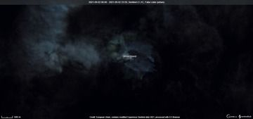 Ash emissions from White Island volcano as visible from satellite (image: Sentinel 2)