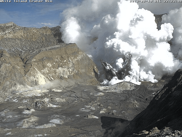Phreatic explosion at White Island this morning (GeoNet webcam)