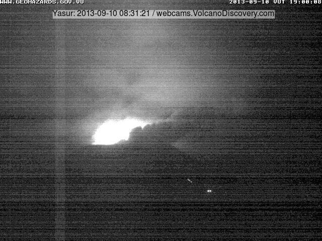 Webcam shot from Yasur showing bomb landing near car park