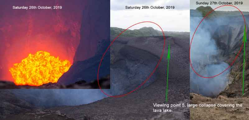 Comparison of Yasur's crater on 25 and 27 Oct 2019 (image: Justin Noonan)
