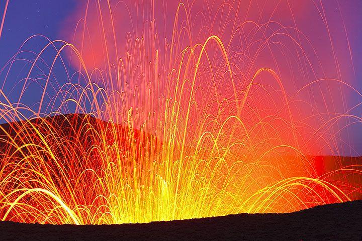 Yasur volcanoe in eruption