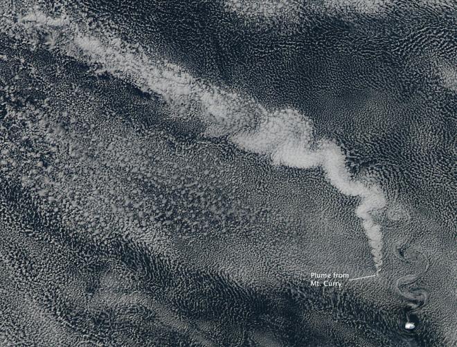 Plume of Mt Curry on 27 April 2012 seen on Aqua satellite (NASA/GSFC/Jeff Schmaltz/MODIS Land Rapid Response Team; annotation by E. Klemetti)