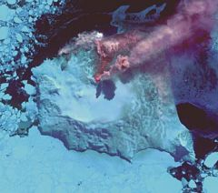Steam / ash plume from Zavodovski island on 19 April 2014 (NASA)
