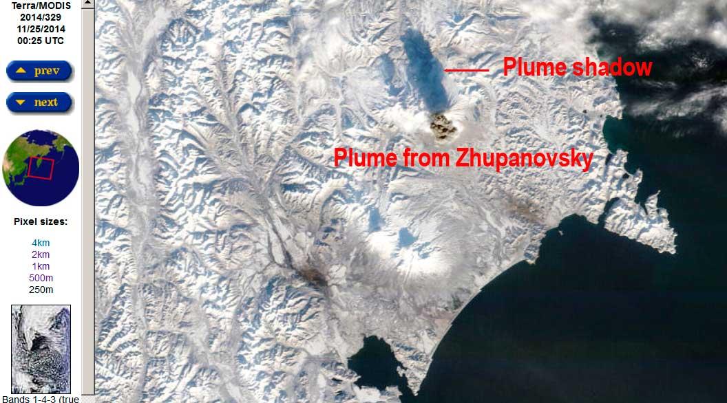 Terra satellite image showing this morning's eruption at Zhupanovsky volcano