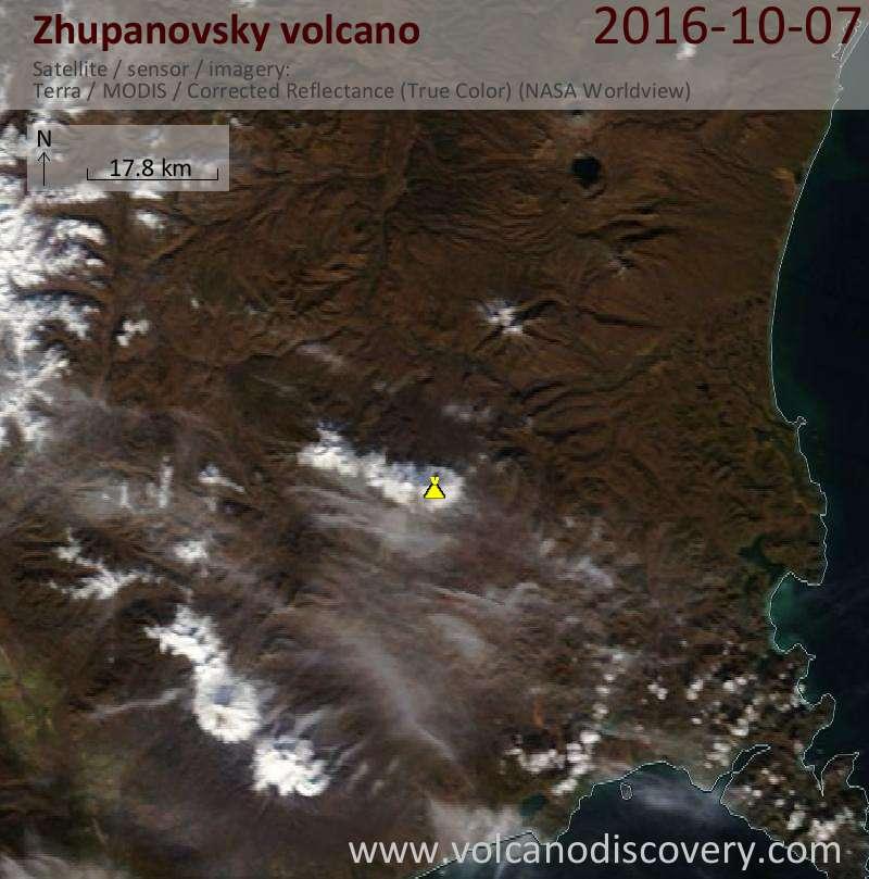 Satellite image of Zhupanovsky volcano on  7 Oct 2016
