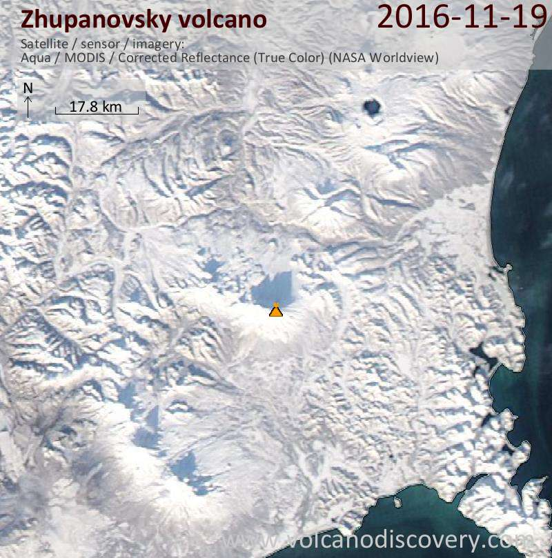 Satellite image of Zhupanovsky volcano on 20 Nov 2016