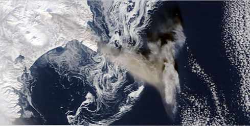 Ash plume from Zhupanovsky volcano yesterday