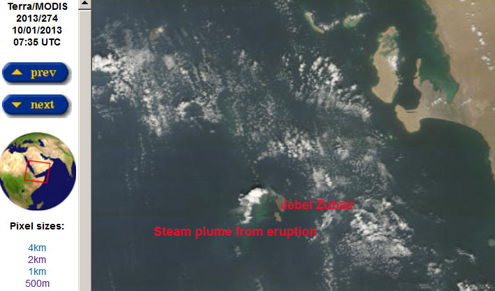 MODIS / Terra satellite image 1 Oct showing the steam plume from the eruption