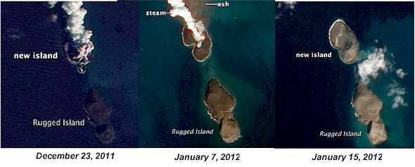Comparison of NASA images of the same island at different stages