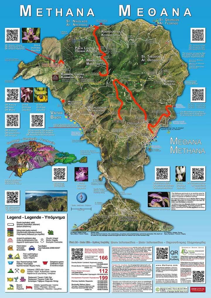 Die Touristische Informationskarte Methanas.