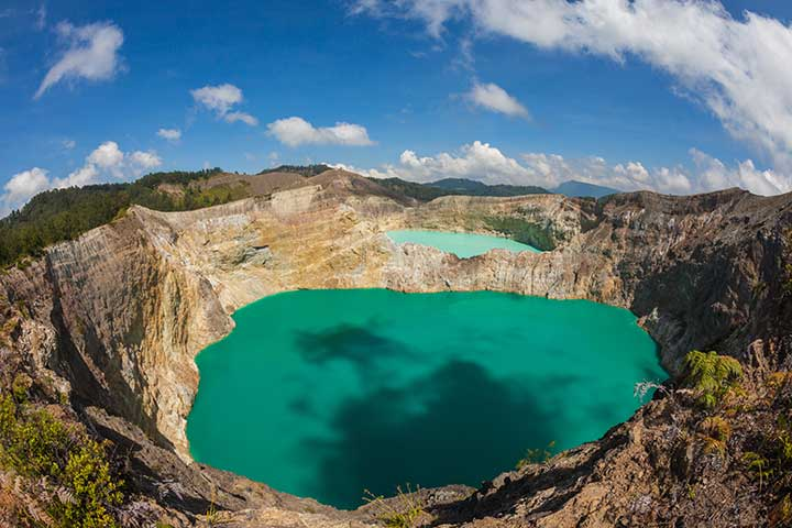 Kelimutu volcano with its turquoise crater lakes