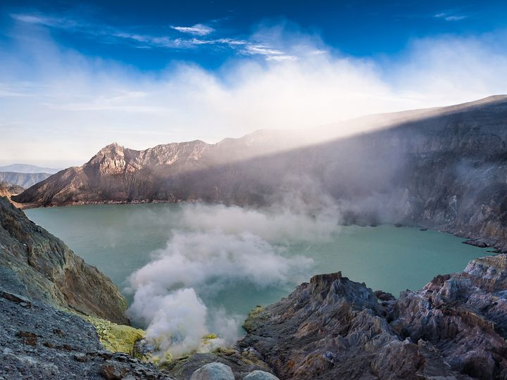 Ijen's turquoise acid crater lake
