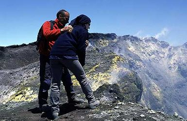 At the summit crater of Etna volcano