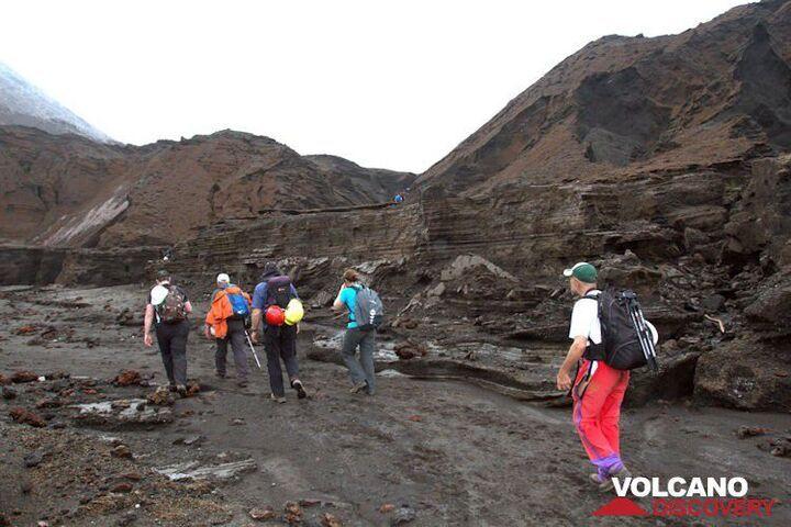 Group walking through the Ambrym caldera (photo: Yashmin Chebli)
