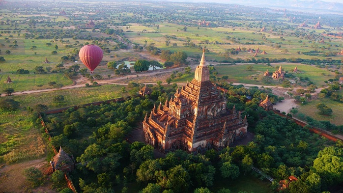 Aerial view over the Bagan temples