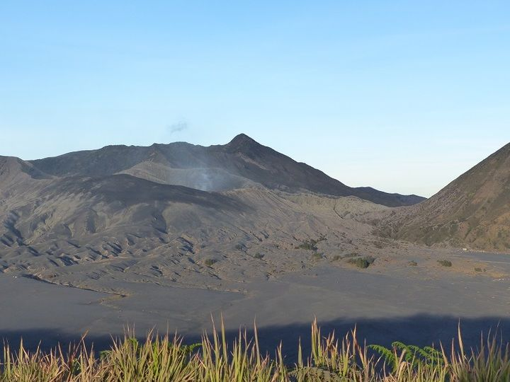 Steam and volcanic gasses rising up from Bromo´s central vent