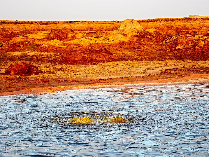 Bubbling yellow water in a hydrothermal acid pond near Dallol (Jan 2018; image: Stefan Tommasini)