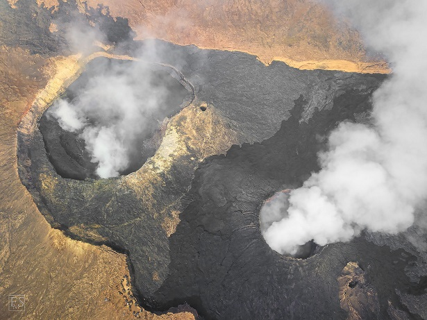 Aerial photograph of Erta Ale's summit caldera with the North Crater (left), the South Crater (right) and the summit camp on the caldera rim (bottom left) (Stefan Tommasini - January 2018)