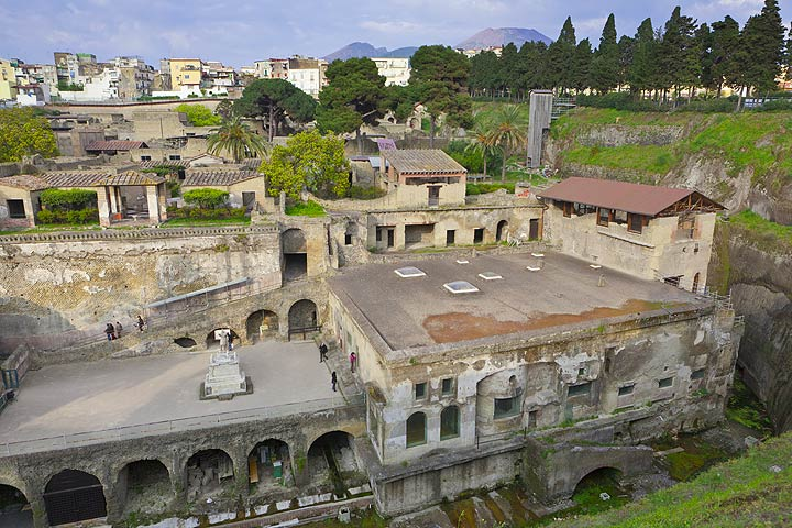 The ruins of Herculaneum with Mt Vesuvius in the background