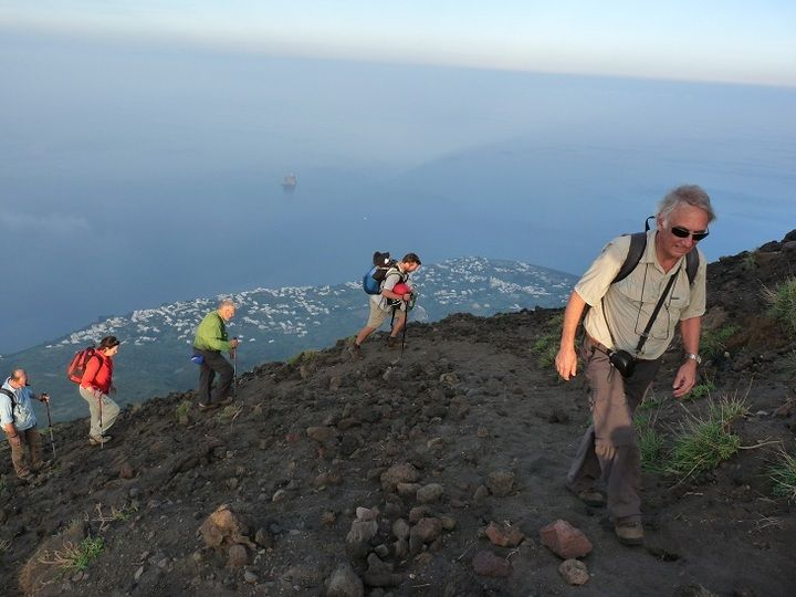 Hiking to Stromboli volcano´s summit along the old pathway besides the Sciara del Fuoco
