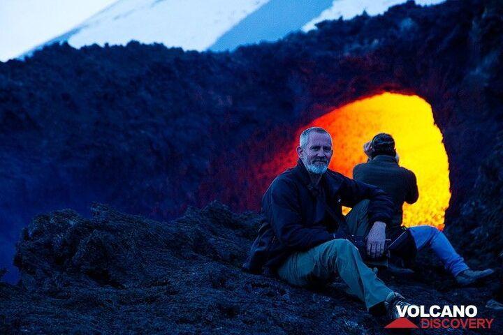 View into an active skylight (hole to a lava tube) (Photo: Emanuela / VolcanoDiscovery Italia)