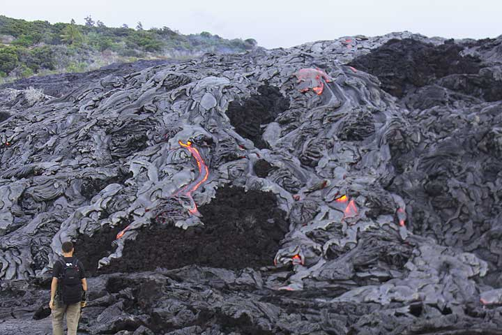 Lava flows at the base of the pali