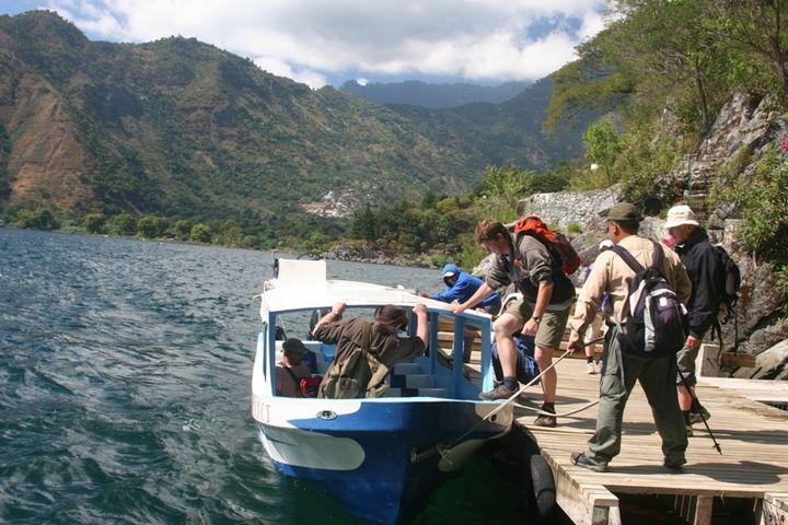 The steep caldera walls around Lake Atitlán