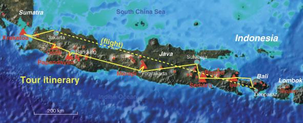 Reiseverlauf der Krakatau bis Bali Tour im Überblick (ugefähre Angaben)