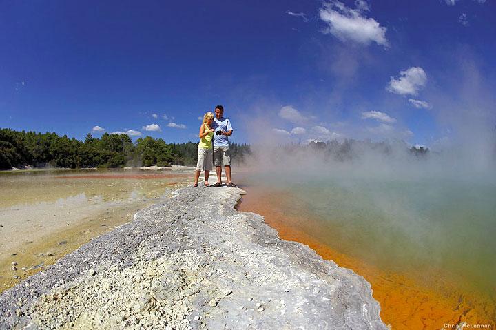 The bright orange rim of Waiotapu's Champagne Pool (photo: Chris McLennan)