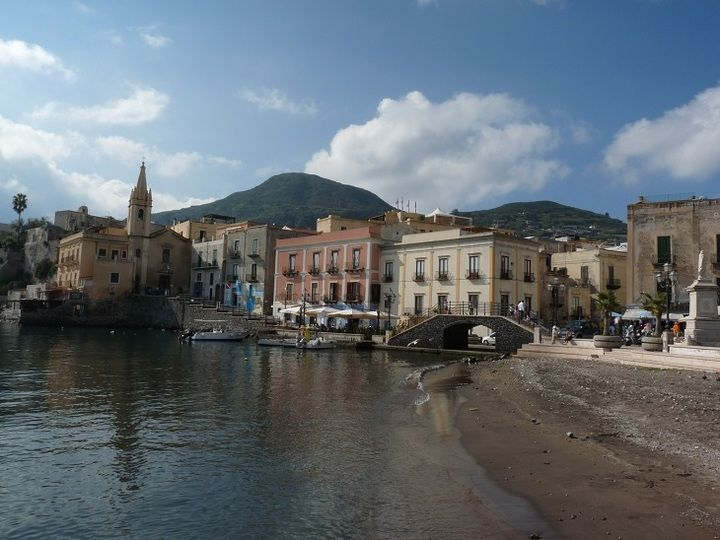 The colorful old town of Lipari