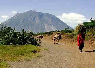 Trekking towards Ol Doinyo Lengai mountain