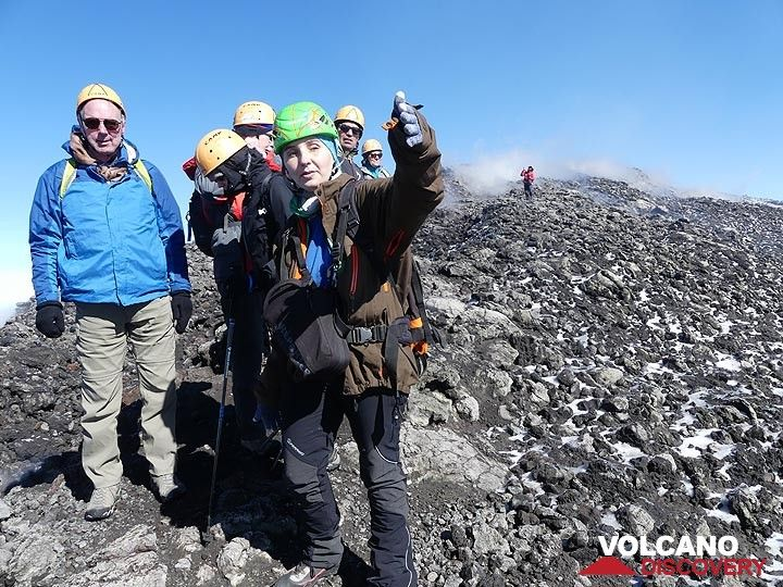Group on the summit crater of Etna