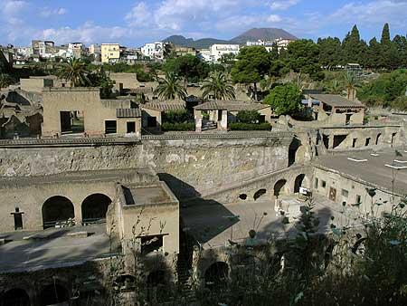 The ruins of Herculaneum and Vesuvius volcano