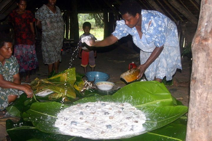 Preparation of Laplap, one of Vanuatu's signature dishes