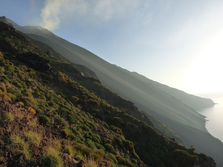 View onto Stromboli´s active summit area and Sciara del Fuoco, the large ash slope from where freshly ejected material rolls into the sea