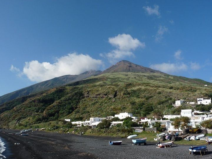 Stromboli island and the volcano´s summit seen from the port