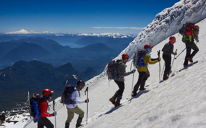 Climbing Villarrica's steep upper slope