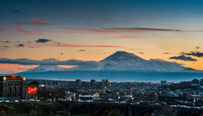Evening in Yerevan, view from the city to the Mt.Ararat