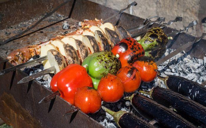 Tasty shashlyk and grilled vegetables